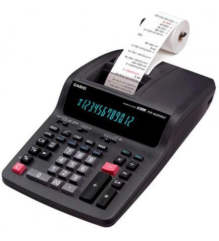 Casio FR-620TEC - Calculadora con impresora, impresión 2 colores, cálculo beneficios, EURO, impuestos, color Negro