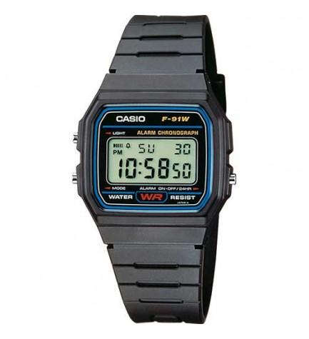 Casio F-91W-1YEF - reloj digital, correa de resina, extrema resistencia y flexibilidad, alarma, cronómetro, color Gris