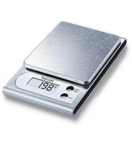 Beurer KS 22 - Balanza de cocina, pequeña y manejable, superficie de acero inoxidable, 3 kg capacidad