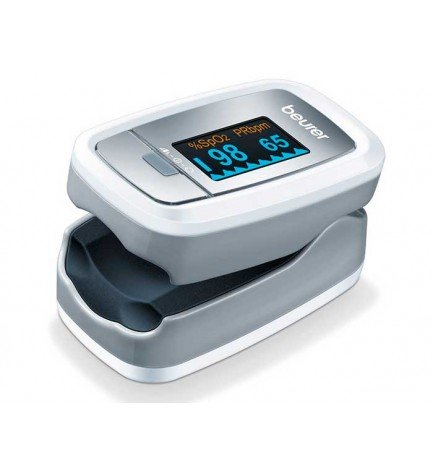 Beurer PO 30 - Pulsioxímetro, concentración de oxígeno arterial (SpO2), frecuencia cardíaca (pulso), color Gris