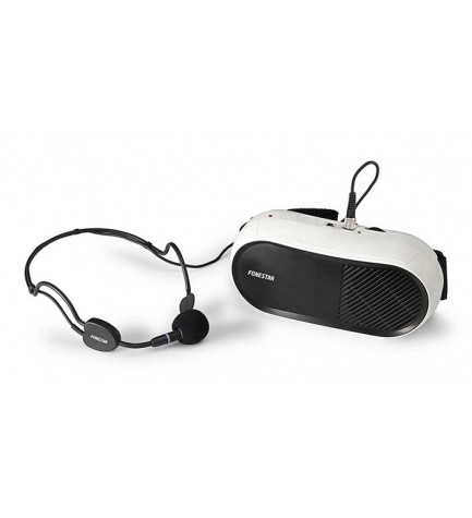Fonestar FAP-10 - Amplificador portátil para cintura, micrófono de cabeza manos libres, alcance aproximado de 70 m, color Blanco