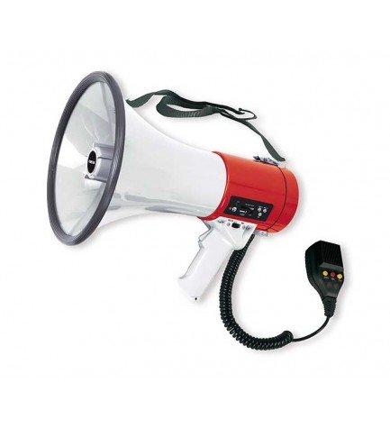 Fonestar MF-600SGU - Megáfono, 25W potencia, sirena incorporada, reproductor USB/SD/MP3, grabación de mensaje 15 segundos máximo