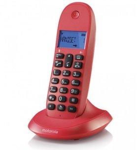 Motorola C1001LB+ - Teléfono inalámbrico, identificador de llamadas, pantalla LCD, memoria 50 contactos, color Cereza