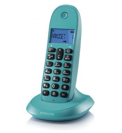 Motorola C1001 - Teléfono inalámbrico, identificador de llamadas, pantalla LCD, memoria 50 contactos, color Turquesa