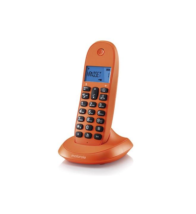 Motorola C1001 - Teléfono inalámbrico, identificador de llamadas, pantalla LCD, memoria 50 contactos, color Naranja