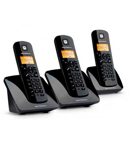 Motorola C403 - Teléfono inalámbrico, pack de tres, identificador de llamadas, color Negro