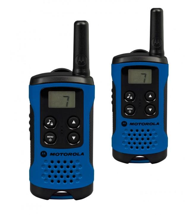 Motorola T41 - Walkie Talkie, pack de dos, aproximadamente 4 Km de alcance, 8 canales, color Azul