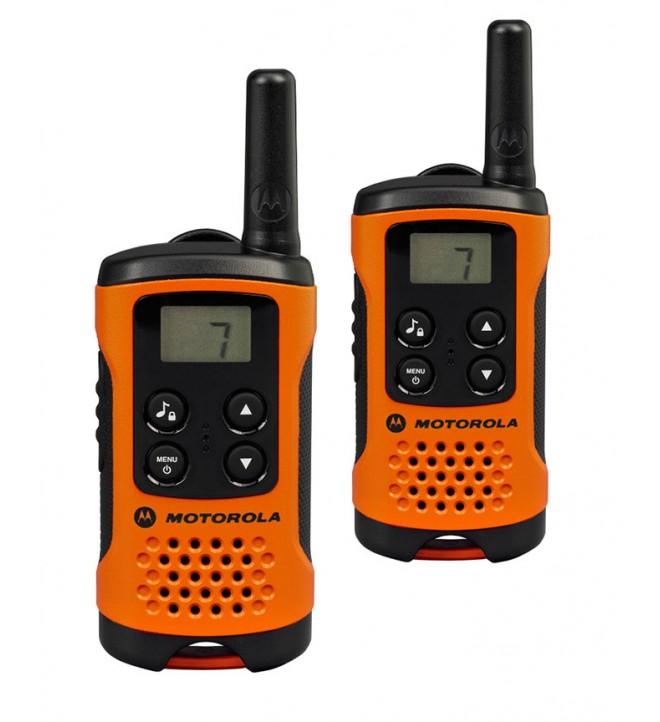 Motorola T41 - Walkie Talkie, pack de dos, aproximadamente 4 Km de alcance, 8 canales, color Naranja