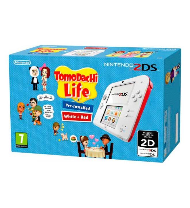 Nintendo 2DS Tomodachi Life - Consola portátil, incluye juego preinstalado, color Blanco y Rojo