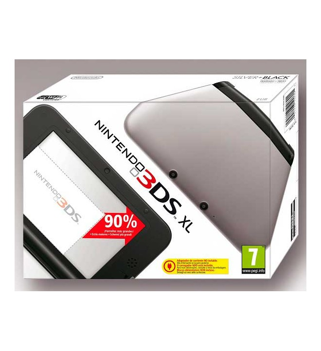 Nintendo 3DS XL - Consola portátil, pantallas 90% más grandes que Nintendo 3DS, estilizada y ergonómica, color Negro y Plata