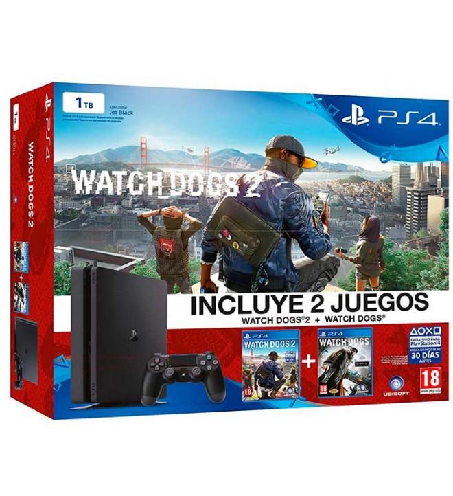 Sony Playstation 4 Slim Watch Dogs - Consola, incluye dos juegos de la saga, capacidad 1 TB, procesador OctaCore, 8GB RAM