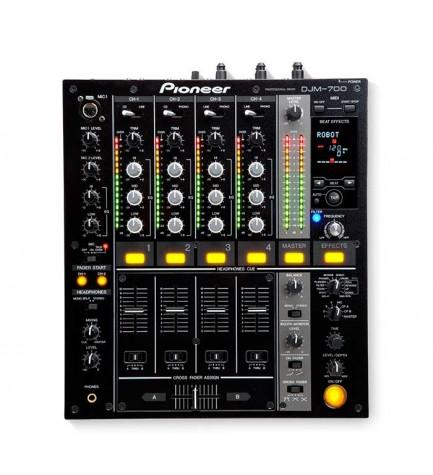 Pioneer DJM-700 - Mesa de mezclas, 4 canales, últimos efectos digitales, robusto, fiable, color Negro