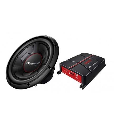 Pioneer GXT-3706B-SET - Kit de sonido, conjunto de subwoofer pasivo integrado, amplificador y cables de conexión