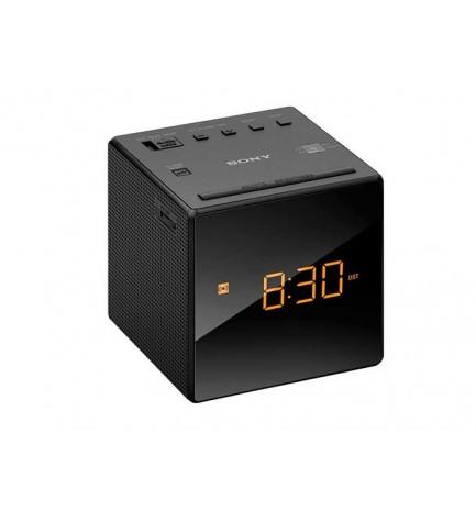 Sony ICF-C1 - Radio despertador, sintonizador AF/FM, ajuste automático de hora, diseño moderno, color Negro