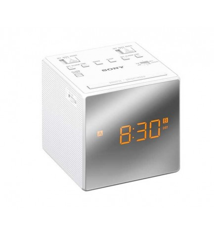 Sony ICF-C1 - Radio despertador, sintonizador AF/FM, ajuste automático de hora, diseño moderno, color Blanco