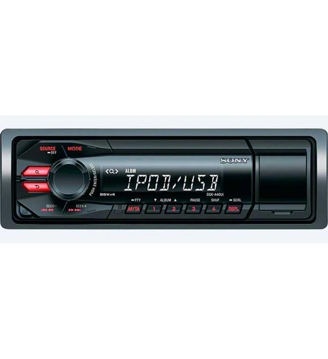 Sony DSX-A40UI - Autoradio, USB, AUX, iluminación de teclas en rojo, control directo de iPod iPhone, color Negro