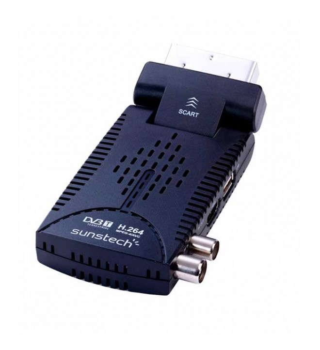Sunstech DTBP600HD - Descodificador TDT, puerto USB incorporado, Full HD 1080p, HDMI, euroconector, RF INOUT, color Negro