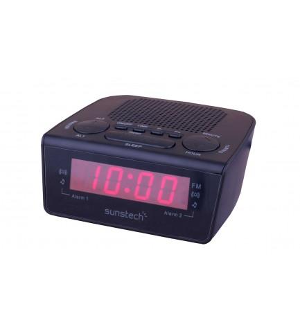 Sunstech FRD18 - Radio despertador, altavoz integrado, 10 presintonías, funciones sleep, snooze, color Negro