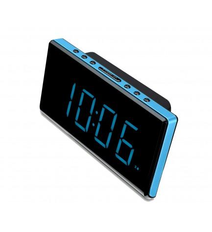 Sunstech FRD28 - Radio despertador, gran pantalla, doble alarma, sleep, NAP, 10 presintonías FM, color Azul