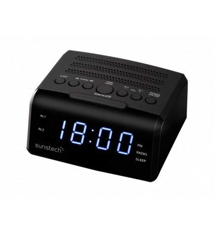 Sunstech FRD35U - Radio despertador, alarma dual, puerto USB, carga de smartphones, color Negro