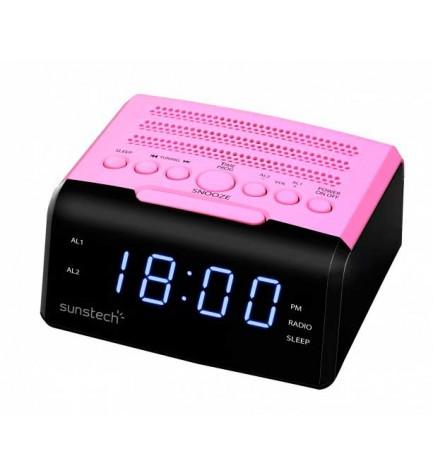 Sunstech FRD35U - Radio despertador, alarma dual, puerto USB, carga de smartphones, color Rosa