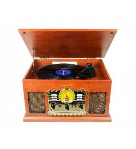Sunstech PXRC5CD - Tocadiscos, diseño en madera, bluetooth, reproductor de CD, cassete, radio, conversor a MP3 en USB, SD, MMC