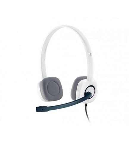 Logitech H150 - auriculares, sonido estéreo, micrófono con supresión de ruido, fácil instalación, color Blanco
