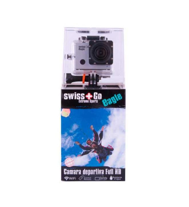 Swiss+Go Eagle - Cámara de acción, resolución 8 Mpx, Full HD, color Plata