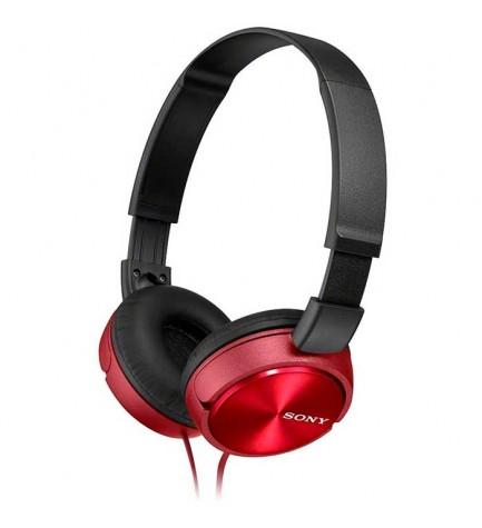 Sony MDR-ZX310A - Auriculares de diadema, micrófono incorporado, color Rojo
