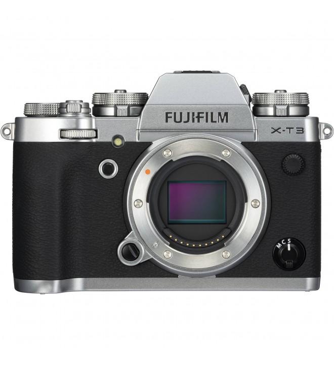 Fujifilm X-T3, cámara sin espejo, 26,1 Mpx, Video 4K, Pantalla táctil, WiFi, Bluetooth, color Plata