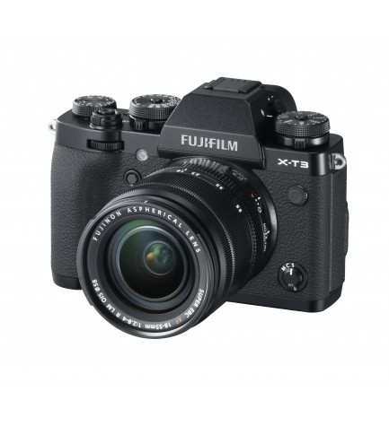 Fujifilm X-T3 - Cámara sin espejo, 26,1 Mpx, Video 4K, Pantalla táctil, WiFi, Bluetooth, Objetivo XF18-55mm, color Negro