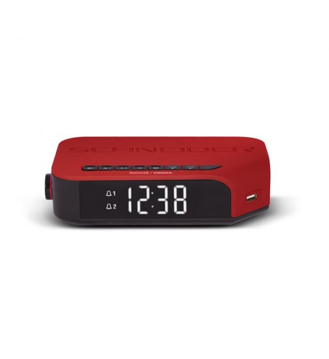 Schneider Viva - Radio despertador, sintonizador FM, color Rojo