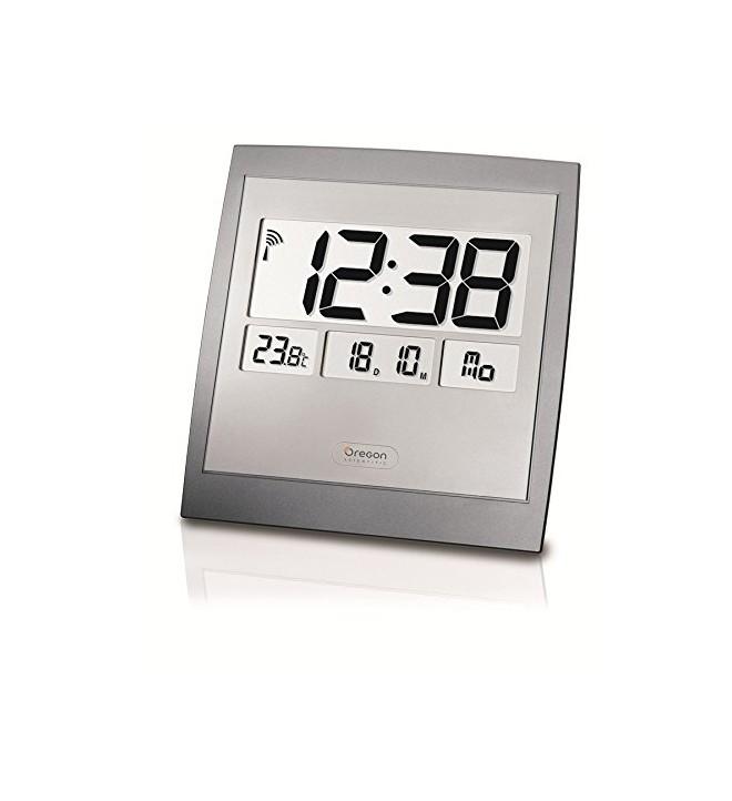 Oregon JM-889-NR - Reloj, de pared, termómetro incorporado, color Plata