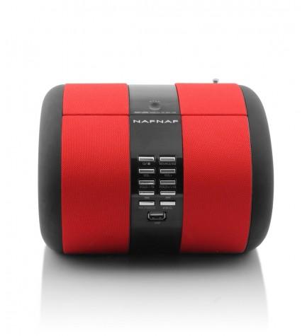 NafNaf SENSE - Despertador, puerto USB, sintonizador FM, alarma, color Rojo