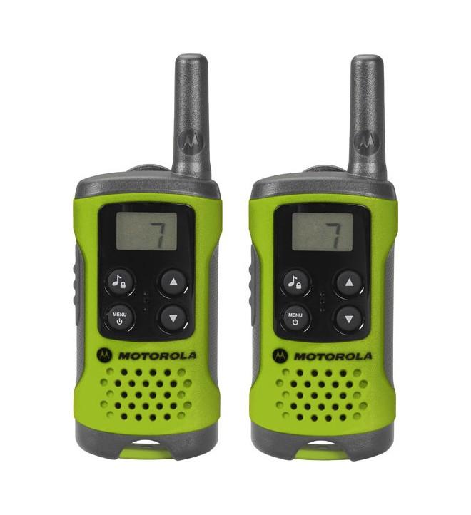 Motorola T41 - Walkie Talkie, pack de dos, aproximadamente 4 Km de alcance, 8 canales, color Verde