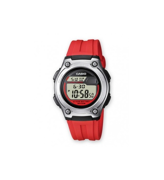 Casio W-211 4A - Reloj, color Rojo