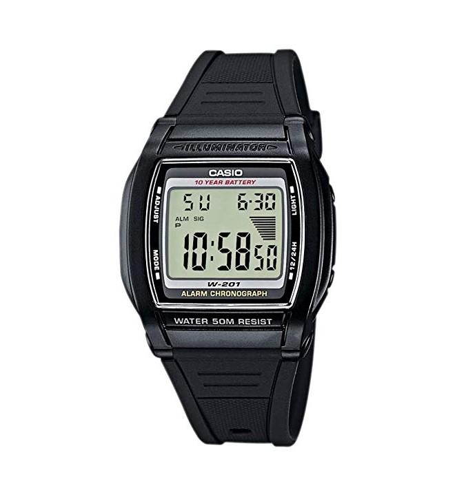 Casio W-201-1A - Despertador, digital, color Negro