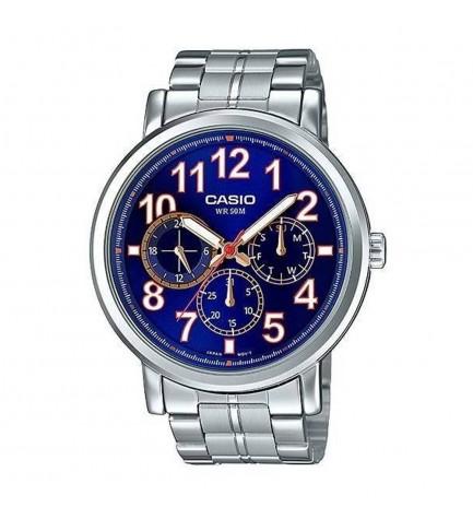 Casio MTP-E309D-2B - Reloj, material acero, esfera azul