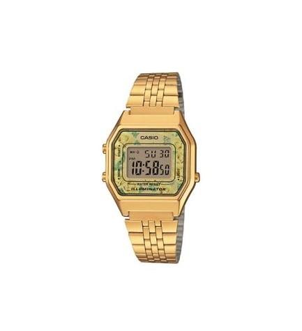 Casio LA680WEGA-9C - Reloj, esfera flores, color Dorado