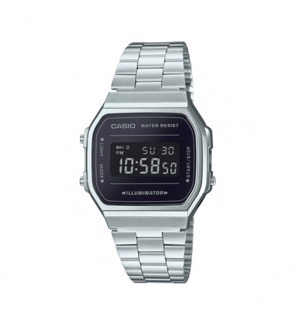 Casio A-168WEM-1E - Reloj, esfera negra, color Plata