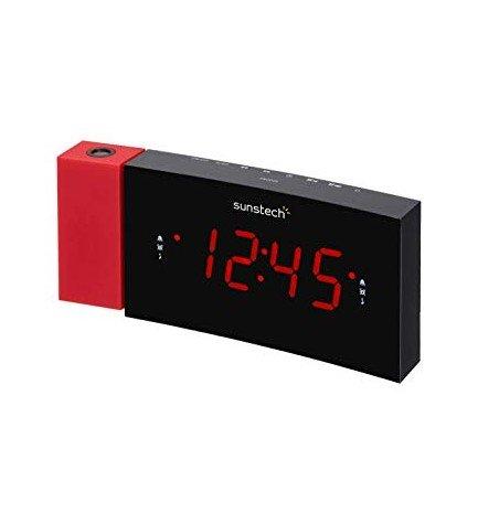 Sunstech FRDP3 - Radio despertador, sintonizador FM, color Rojo