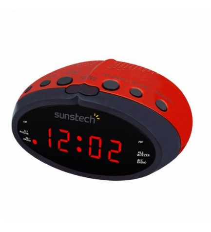 Sunstech FRD16 - Radio despertador, sintonizador FM, color Rojo