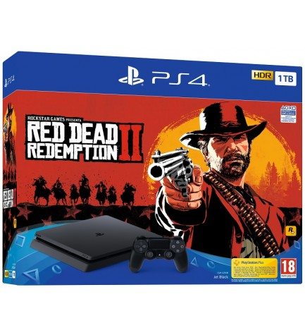 Sony Playstation 4 Slim - Consola, capacidad 1 TB, incluye Red Dead Redemption 2
