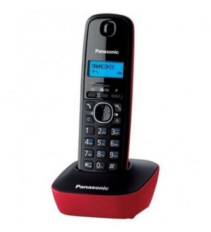 Panasonic KX-TG1612 - Teléfono inalámbrico, color Negro Rojo