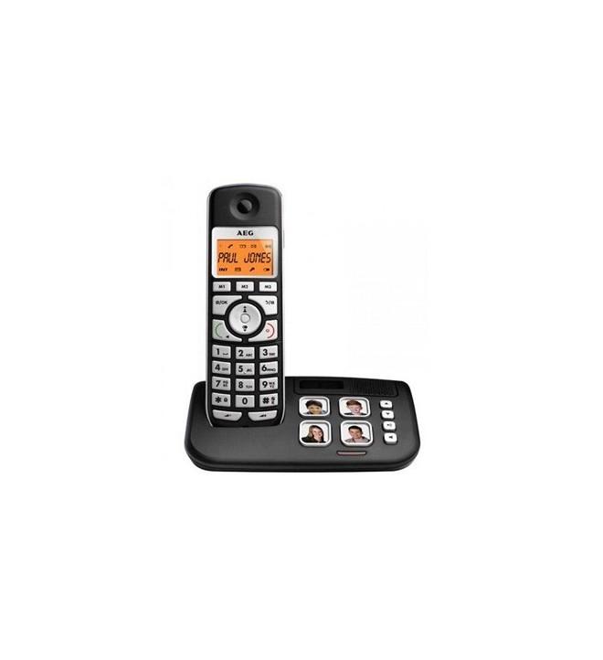 AEG Voxtel S120 - Teléfono inalámbrico, agenda 20 posiciones, 10 horas de conversación, color Negro