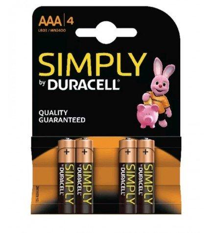 Duracell LR03 Simply - Pila, pack 4