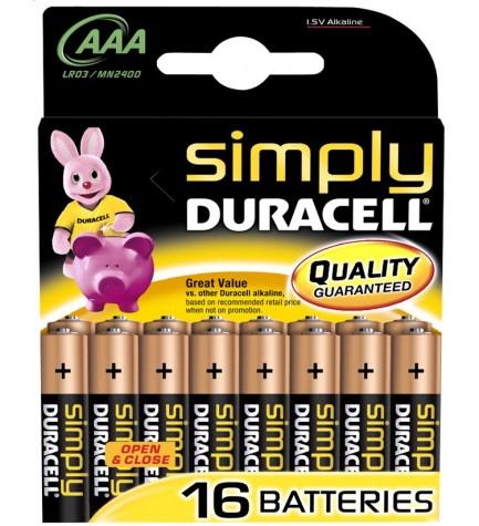 Duracell LR03 Simply - Pila, pack 16