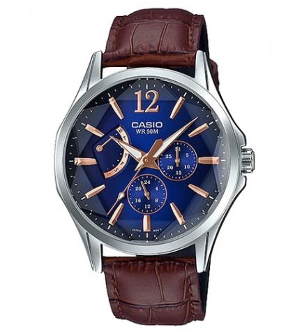 Casio MTP-E320LY-2A - Reloj, material piel, esfera azul, color Marrón