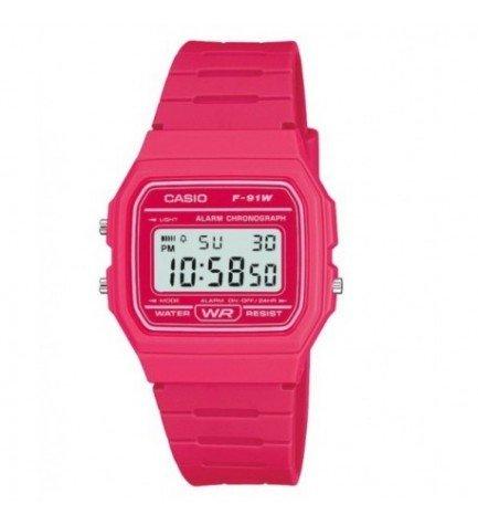Casio F-91WC-4A - Reloj, correa de goma, color Rosa