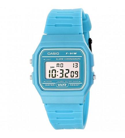 Casio F-91WC-2A - Reloj, correa de goma, color Azul